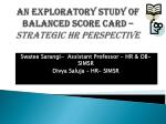 An  Exploratory Study of Balanced Score Card –  Strategic HR  Perspective