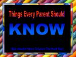 Things Every Parent Should