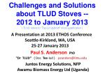 "Challenges and Solutions about TLUD Stoves -- 2012 to January 2013 (  TLUD refers to ""Top-Lit  UpDraft "" micro-gasificat"