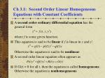 Ch 3.1:  Second Order Linear Homogeneous Equations with Constant Coefficients