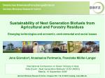 Sustainability of Next Generation Biofuels from Agricultural and Forestry Residues Emerging technologies and economic, e