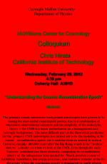 McWilliams Center for Cosmology Colloquium   Chris Hirata California Institute of Technology  Wednesday, February 29, 20
