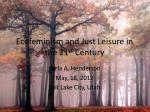 Ecofeminism and Just Leisure in the 21 st Century