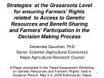 Devendra Gauchan, PhD Senior Scientist (Agricultural Economist) Nepal Agricultural Research Council