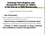 Exchange Rate Regimes and Sustainable Parities for CEECs in the Run-up to EMU Membership Virginie Coudert,Cécile Couha