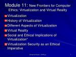 Module 11:  New Frontiers for Computer Ethics: Virtualization and Virtual Reality