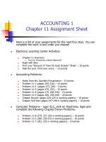 ACCOUNTING 1 Chapter 11 Assignment Sheet
