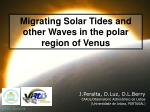 Migrating Solar Tides and other Waves in the polar region of Venus