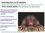 Star-nosed mole: Pre-questions for discussion