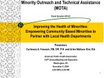 Minority Outreach and Technical Assistance (MOTA) Panel Session 4314.0