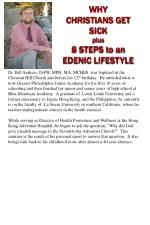 WHY  CHRISTIANS GET SICK plus 8 STEPS to an EDENIC LIFESTYLE