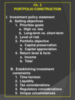 Ch. 2 PORTFOLIO CONSTRUCTION  I.  Investment policy statement     A.  Setting objectives