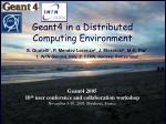 Geant4 in a Distributed Computing Environment