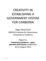 CREATIVITY IN ESTABLISHING A GOVERNMENT SYSTEM FOR CANBERRA