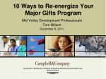 10 Ways to Re-energize Your Major Gifts Program