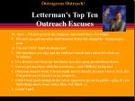Letterman's Top Ten              Outreach Excuses
