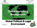 Global Marketing Management Global Political & Legal  Environment
