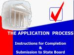 THE APPLICATION PROCESS Instructions for Completion & Submission to State Board
