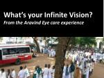 What's your Infinite Vision? From the Aravind Eye care experience