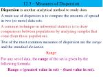 12.3 – Measures of Dispersion