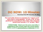 DO NOW: 10 Minutes