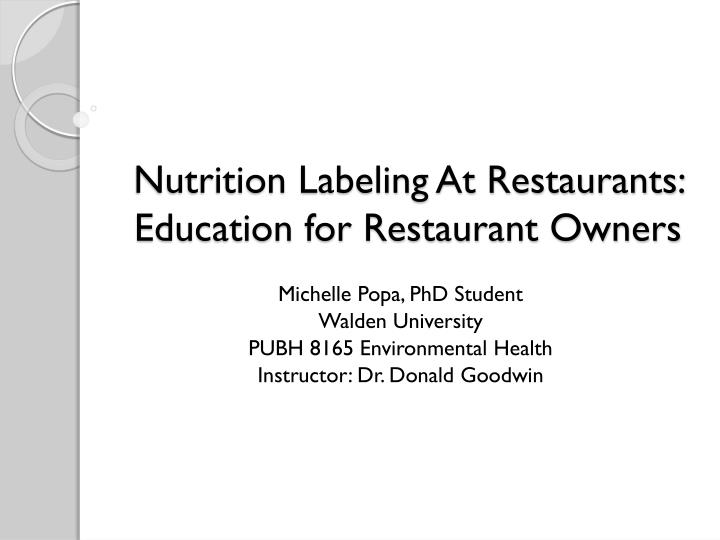 nutrition labeling at restaurants education for restaurant owners n.