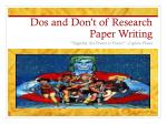 Dos and Don't of Research Paper Writing