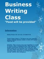 "Business Writing Class  ""Food will be provided"""