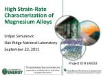 High Strain-Rate Characterization of Magnesium Alloys