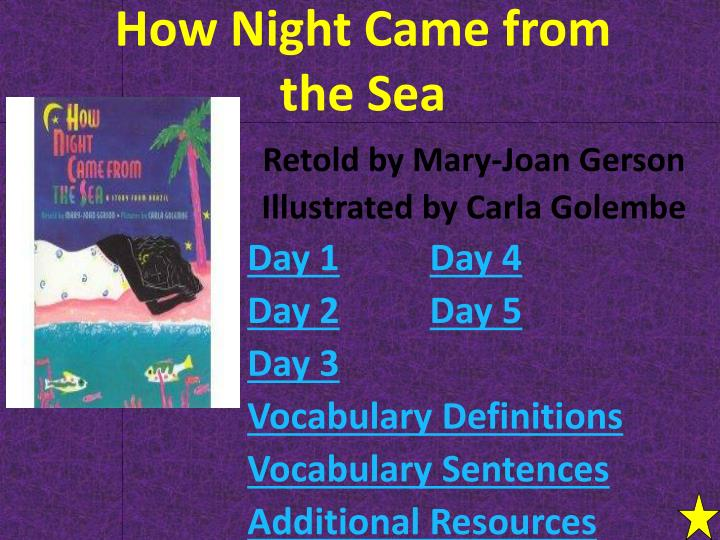 how night came from the sea n.