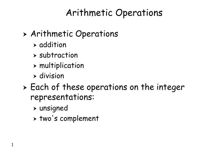 arithmetic operations n.