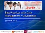 Best Practices with Data Management / Governance