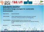 BIOMIMETIC ARCHITECT (Innovative design strategies for sustainable environment)