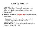 Tuesday, May 21 st