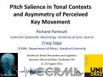 Pitch Salience in Tonal Contexts and Asymmetry of Perceived Key Movement