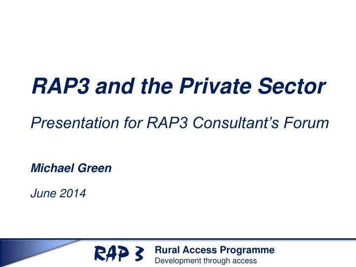 rap3 and the private sector n.