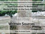 University of Oxford Department for Continuing Education From Civilisation To Barbarism?