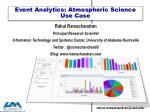 Event  Analytics: Atmospheric Science Use Case