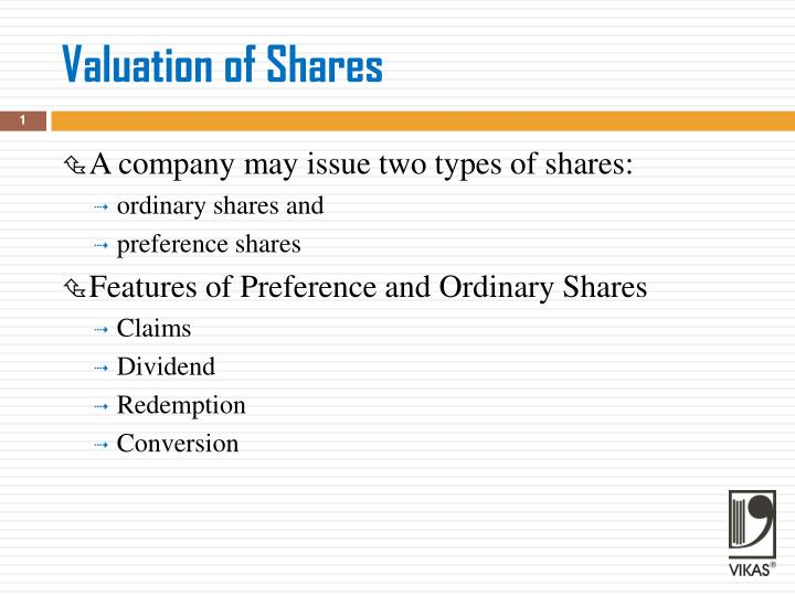 valuation of shares n.