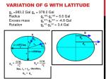 Variation of G with latitude