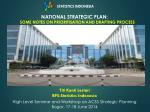 NATIONAL STRATEGIC PLAN: SOME NOTES ON PRIORITISATION AND DRAFTING PROCESS