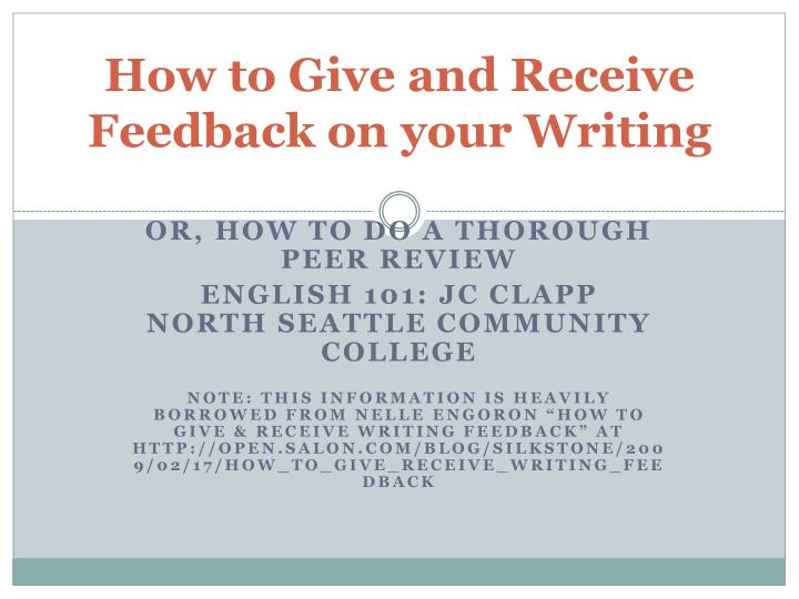 how to give and receive feedback on your writing n.