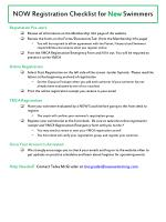 NOW Registration  Checklist for  New  Swimmers