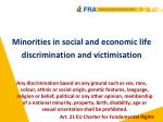 Minorities in social and economic life discrimination and victimisation