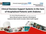 Clinical Decision Support Systems in the Care of Hospitalised Patients with Diabetes