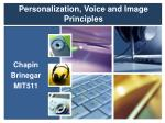 Personalization, Voice and Image Principles