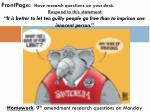Homework : 9 th amendment research questions on Monday