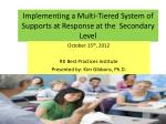 Implementing a Multi-Tiered System of Supports at Response at the Secondary Level