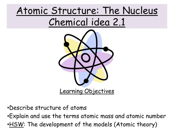 atomic structure the nucleus chemical idea 2 1 n.