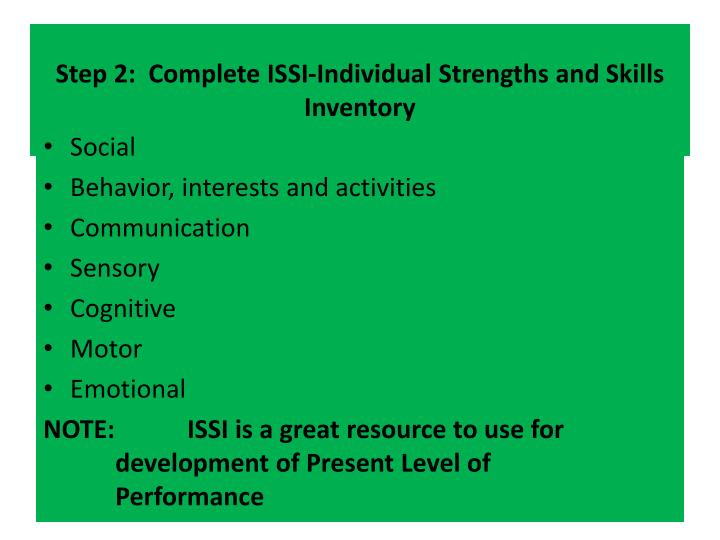 PPT - Step 2: Complete ISSI-Individual Strengths and Skills